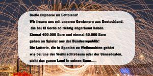 Spanische Weihnachtslotterie-El Gordo erneut im Lottoland abgeräumt
